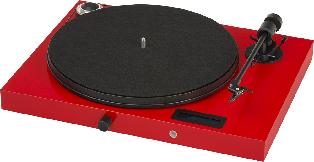 Juke Box E - Plattenspieler der Firma Pro-Ject mit Display, Bluetooth, Line-In und Line-Out in hochglanz-rot.