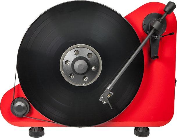 VT-E R, stehender Plattenspieler in rot-matt für Rechtshänder von der Firma Pro-Ject.